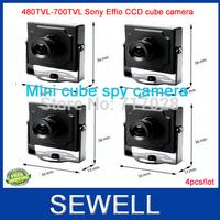 480tvline 700TVL sony Effio CCD Mini Cube Camera 4pcs, Array LED 35M Indoor surveillance camera, free shipping,drop shipping