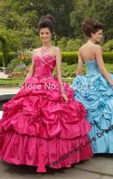Free shipping! 2014 2014 Ball Gown Floor-length Sweetheart Royal Blue Taffeta Dress Vestidos Quinceanera