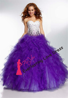 2014 New perfect Dress for Quinceanera and Sweet Sixteen beaded corset top and sweetheart neckline Gown woman vestidos de fiesta