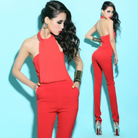 Bossy lady 2014 spring and summer fashion sexy halter-neck racerback strapless jumpsuit trousers