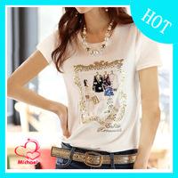 2014 summer plus size clothing women's short-sleeve top 100% cotton print  slim female t-shirt