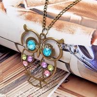 New Retro Fashion Vintage Rhinestone Crystal Big OWL Pendant Chain Necklace #5686