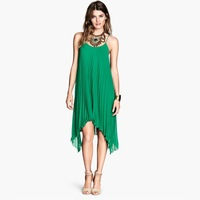 HD103 New 2014 summer Europe fashion women clothes spaghetti straps chiffon pleated knee-length green casual dress plus size XXL