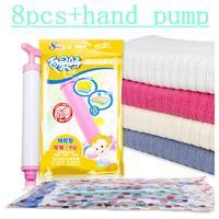 High Quality 8pcs / pack  Vacuum compression bags quilt vacuum storage bag +1 hand pump Special wholesale