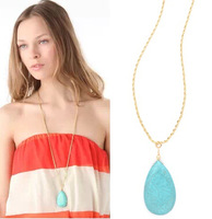 New 2014 long chain turquoise drop pendants necklaces nice gift for women gril wholesale