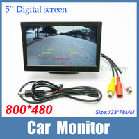 """5 inch 16:9 screen 5"""" TFT LCD High resolution 800*480 Car Rearview Backup Color Monitor Security Monitor for Camera DVD VCR 12V"""