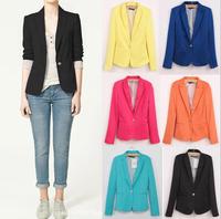 2014 Fashion Women Brand Suit Blazer Jacket color candy Coat Lined With unique Vogue Striped Blazer sleeved lapel button folding