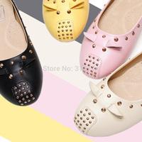 Fashion cartoon flat-bottomed single shoes round toe low-heeled plus size 4043 women's shoes extra large 44