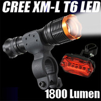 Ultrafire1800 Lumen KC01 Tactical Zoomable CREE XM-L T6 LED 18650 Flashlight Torch Waterproof Torch+bike clip+tail light