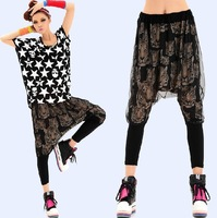 2014 New mesh pant carrot harem pants female Korean style fashion summer tiger head print hanging crotch trousers  thin elastic