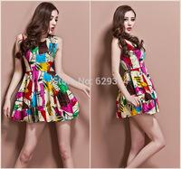 2014 New Womens Sexy Fashion Summer Dress Sleeveless Vest skirt Ball Gown Hot Sale