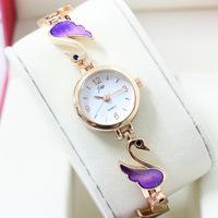 Pretty Swan Bracelet Watch Elegant Women Dress Wristwatch Full Steel Band,Quartz Clock Gold Plated Timepiece Korea Reloj NW118