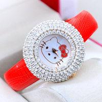 2014 New Full Crystals Hello Kitty Watches Luxury Fashion Girls Cartoon Quartz Wrist watch Leather Clock Korea Style Reloj NW126
