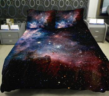 Дизайнер постельных принадлежностей из домашнего декора комплект 2 стороны печать туманность пододеяльник туманность постельное белье листы с 2 подушки чехол