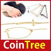 Economic benefit cointree New Fashion 3 Colors Retro Punk Gothic Metal Cross Chain Bangle Bracelet Hot DIY