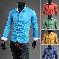 New 2014 Candy color long sleeve shirts Pure color joker shirt collar / dark blue, yellow, green, orange, sky blue
