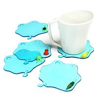 4Pcs / Lot Water Drop Style Coaster Cup Mat (Random Color)