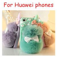 Rabbit hair bulb fur ball pearl bowknot rhinestone case For HAUWEI honor 3c 3x Ascend P6 P7 etc.