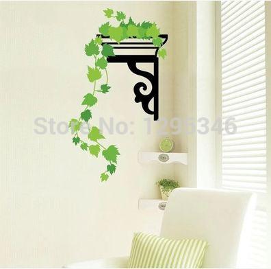 Frete Grátis 33 x 60cm com sala / quarto / TV / sofá pano de fundo Vertical folha verde terceira geração etiquetas removíveis da parede 2pcs / lot(China (Mainland))