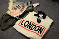 Harajuku preppy style zipper london letter pattern soft baseball short design gauze t-shirt