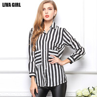 2014 New Fashion summer T shirt Chiffon Long sleeve shirt stripe pocket  Women's clothing crop top Free Shipping