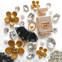 Pefume Bottle Phone Deco Bling Alloy Set Ballerina Gold Deco Kits