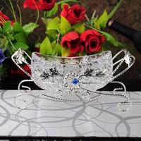 2pcs/lot Fashion handbag silver plated glass tray ktv crystal fruit basket