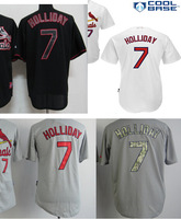 Men's St. Louis shirts 7 Matt Holliday white gray camo black coolbase baseball jerseys wholesale authentic Stitched