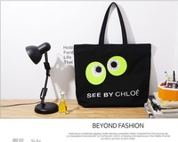 Women Girls Fashion Canvas Cartoon Big Eyes Printed Big Eyes Black Bags Hasp Shoulder Handbags