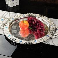 2pcs/lot Fashion flat fruit dishes circle fruit plate silveriness ktv jacquard towel tray