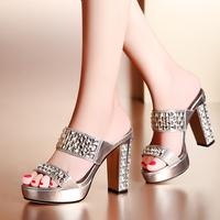 Fashion crystal 2014 women's shoes thin heels high-heeled thick heel platform rhinestone sandals bohemia women's slippers