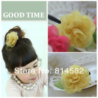 Children accessories flower baby hair bands Gauze chiffon flowers Elastic hair bands free shipping 10pcs/lot