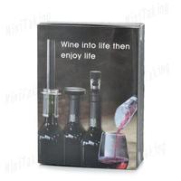 Wine Corkscrew/Opener + Vacuum Stopper + Wine Decanter + Cutter Tools Set (4 PCS / Pack)
