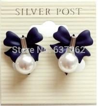 $10 (mix order) Free Shipping Blue Color of the Sweet Bowknot Pearl Pendant Earrings E567 E568