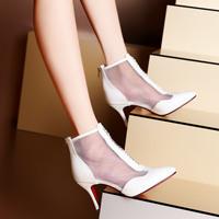 Genuine leather pointed toe rhinestone gladiator gauze thin heels high-heeled shoes wedges shoes women's