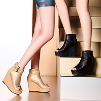 Moolecole sexy open toe gladiator wedges sandals high-top shoes yj506