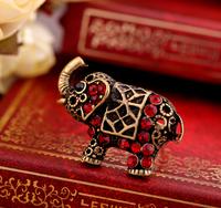 Wholesale 12pcs 2014 New Arrival Fashion Vintage Retro Cute Elephant Rhinestone Ring Size 7 Free Shipping