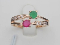 H2A81 Green Red 100% Natural Emerald Ruby 14K Yellow Solid Gold Size US 8