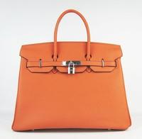 Top quality 35 BK genuine calf leather orange silver women ambre tote handbag shoulder bag fashion gift free shipping wholesale