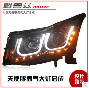 High Quality! NEW Chevrolet Cruze headlights, bifocal lens headlamps! Angel Eyes Xenon Headlight assembly(China (Mainland))