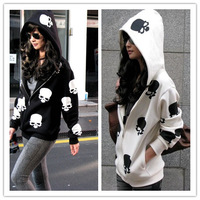 Free Shipping 2014 New Arrival Women Long Sleeve Skull Print Hoodies Fashion Outwear Cardigan With Hooded