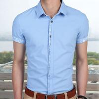 hot sell male social shirt  men shirt short sleeve slim fit shirt cotton linen freeshipping 927