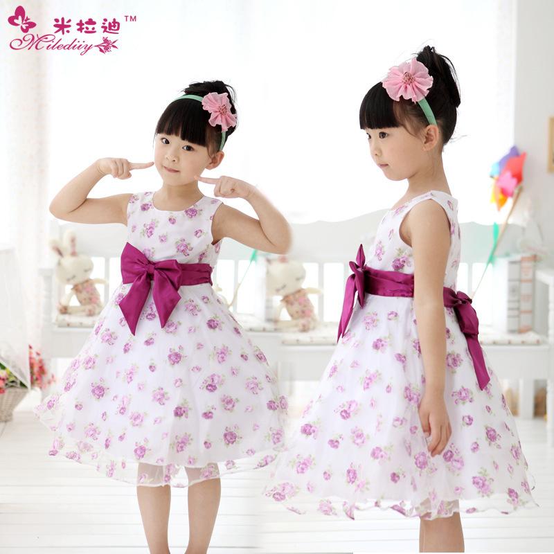 Summer New girls dress,bow and flower girl princess dress high quality kids tutu dresses for wedding girls clothes 0100(China (Mainland))