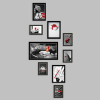 Wall decoration photo of wall photo frame combination 9 pcs modern brief home living room decoration fashion free shipping/FW804