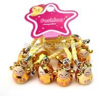 Hot sell 60 pcs Gold (RICHNESS) Maneki Neko Lucky Cat Bell Cell Phone Charm Strap 0.6 in