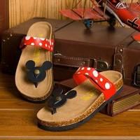 Hot selling Casual Women Sandals Cartoon Mickey Mouse Slippers Cork Flats Summer Shoes Women Flip Flops