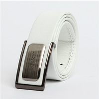 Hot !Men's 2014 smooth buckle casual letter leather strap belt drop shipping Free Shipping