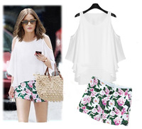 2014 new summer European suit the new Europe and the United States women's wear sleeveless chiffon + printed shorts suit ZY4039