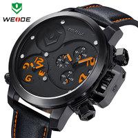 New 2015 WEIDE watch leather men watches fashion calendar date dual time display original Japan quartz led watch 30m waterproof