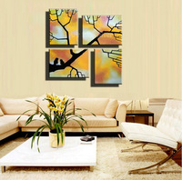 4 piece canvas wall picture abstract handmade decorative tree branch oil painting on canvas for living room home decoration